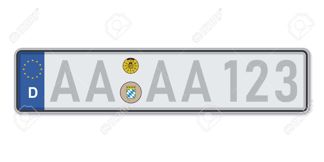 Car number plate. Vehicle registration license of Germany. European Standard sizes - 168928950