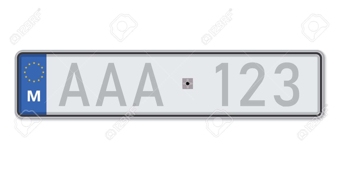 Car number plate. Vehicle registration license of Malta. European Standard sizes - 168928967