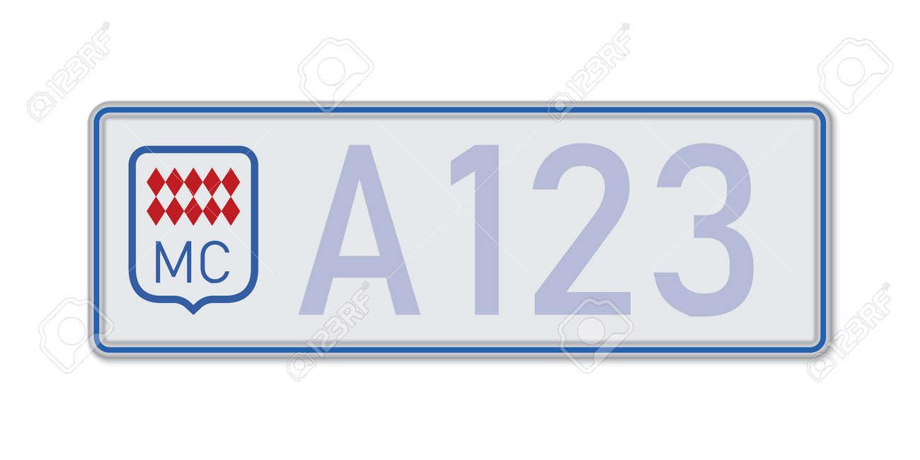 Car number plate. Vehicle registration license of Monaco. European Standard sizes - 168928970