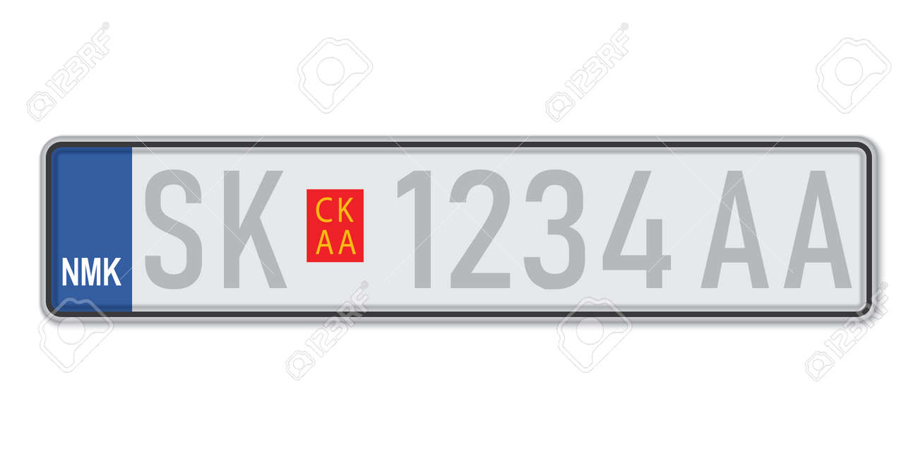 Car number plate. Vehicle registration license of North Macedonia. European Standard sizes - 168928973