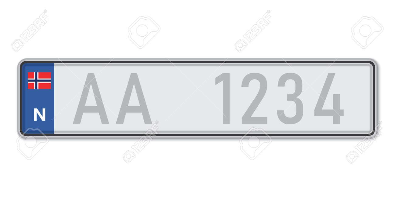 Car number plate. Vehicle registration license of Norway. European Standard sizes - 168928974
