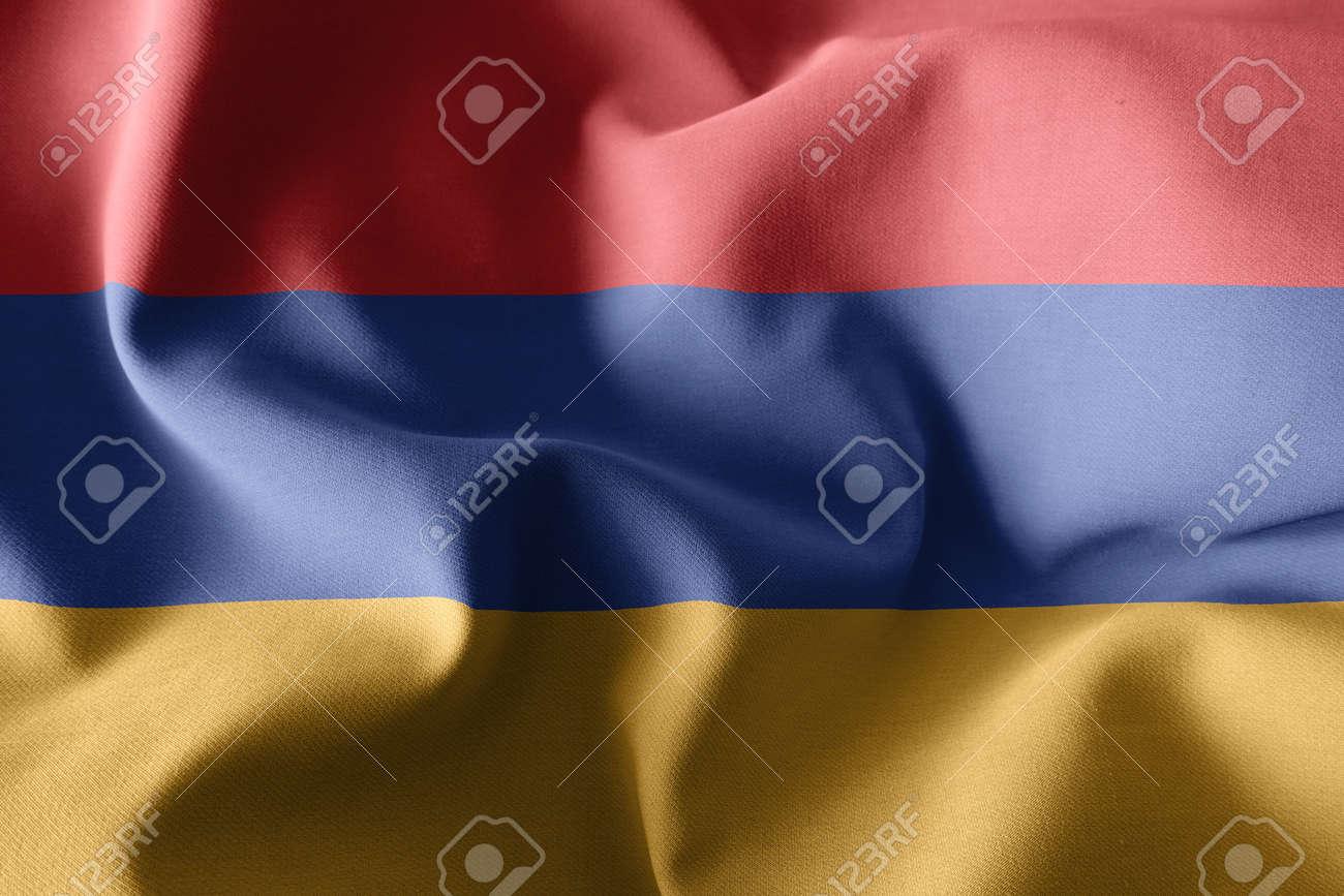3d rendering realistic waving silk flag of Armenia - 168929057
