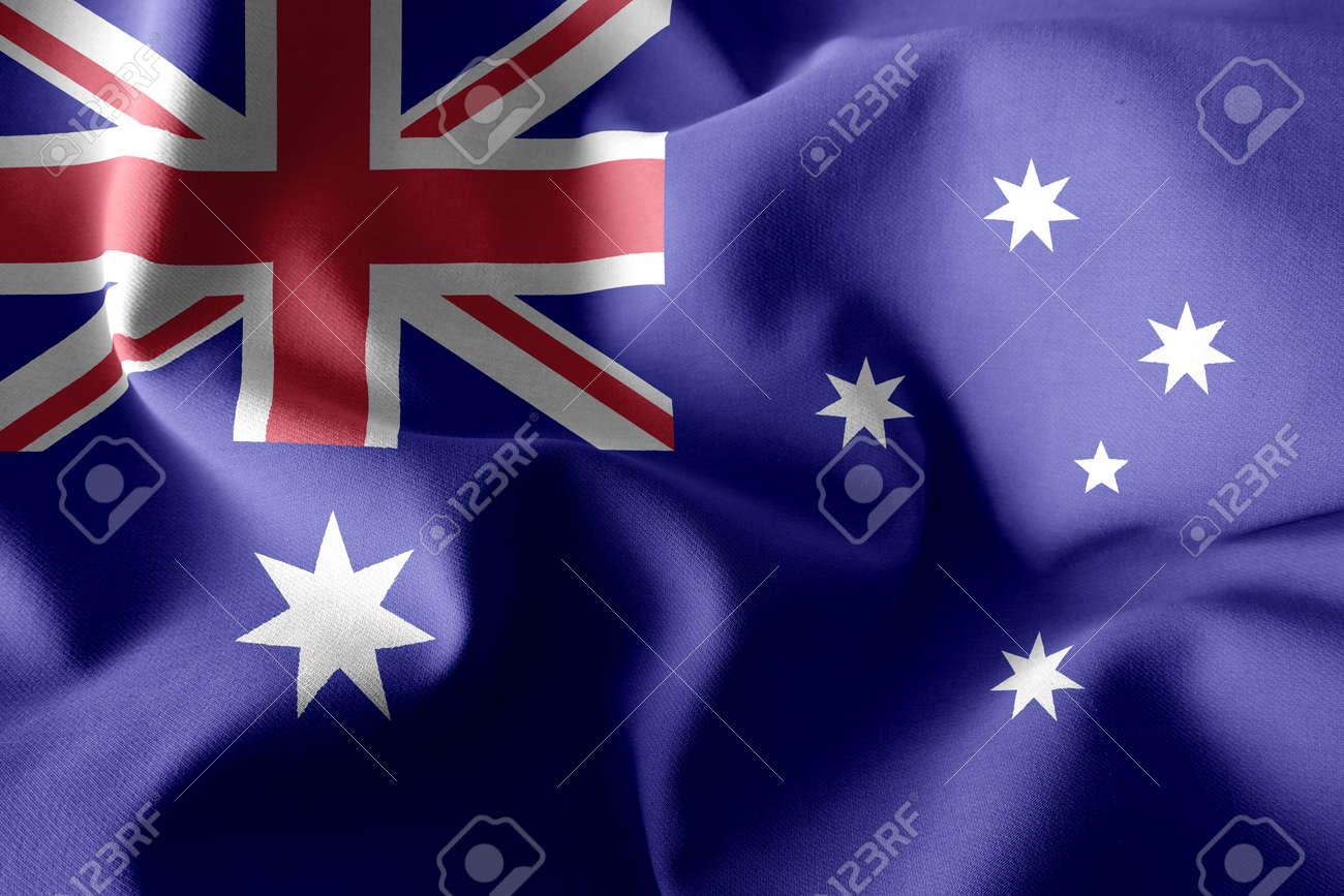 3d rendering realistic waving silk flag of Australia - 168929058