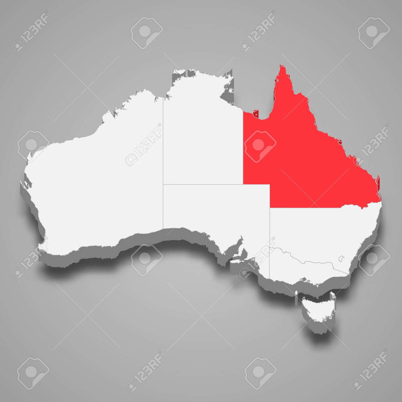 Queensland region location within Australia 3d isometric map - 168929065