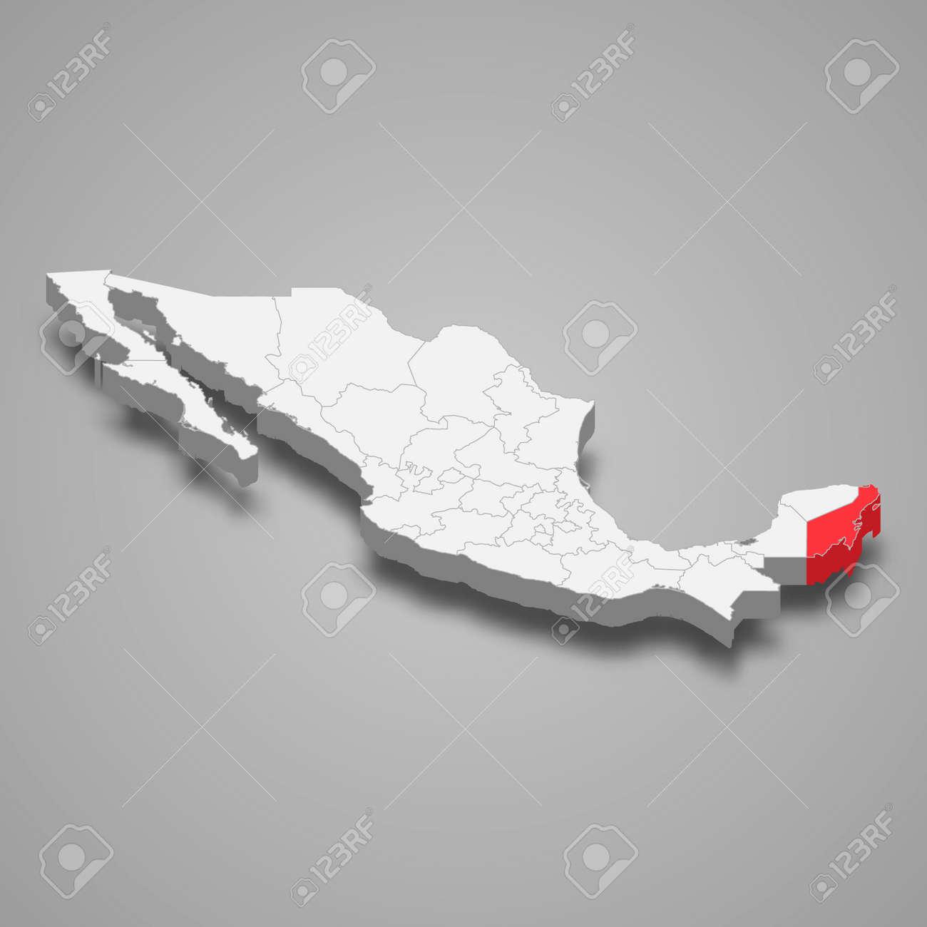 Quintana Roo region location within Mexico 3d isometric map - 168929068