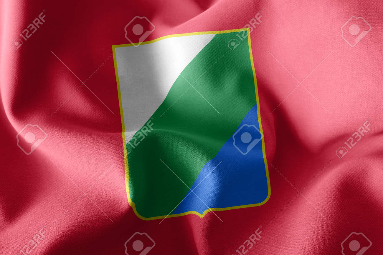 3D illustration flag of Abruzzo is a region of Italy. Waving on the wind flag textile background - 168929076