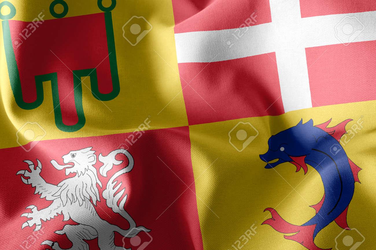 3D illustration flag of Auvergne-Rhone-Alpes is a region of France. Waving on the wind flag textile background - 168929083