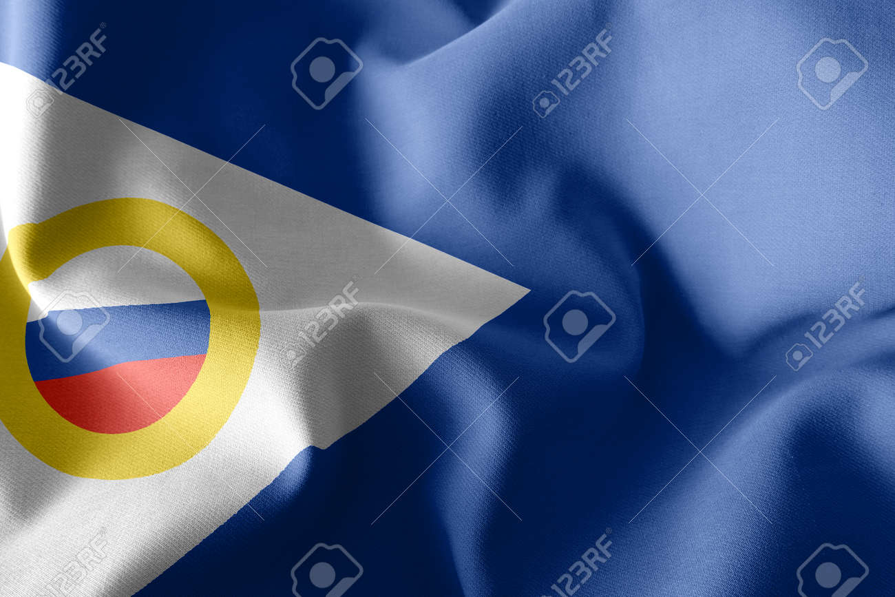 3D illustration flag of Chukotka Autonomous Okrug is a region of Russia. Waving on the wind flag textile background - 168929085
