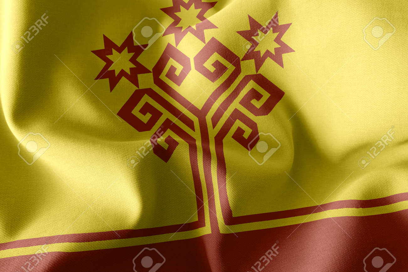 3D illustration flag of Chuvashia is a region of Russia. Waving on the wind flag textile background - 168929087