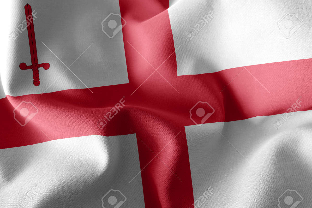 3D illustration flag of City of London is a county of England. Waving on the wind flag textile background - 168929088