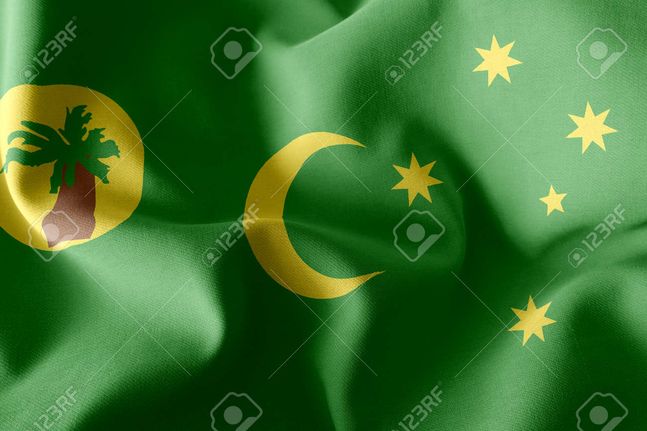 3D illustration flag of Cocos Islands is a region of Australia. Waving on the wind flag textile background - 168929089