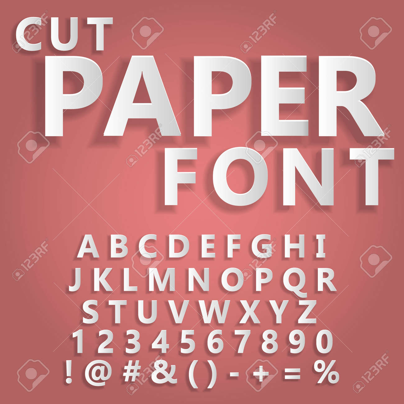 Floating cut paper letters and numbers of the alphabet on a light background, paper art style Template for your design - 168873074