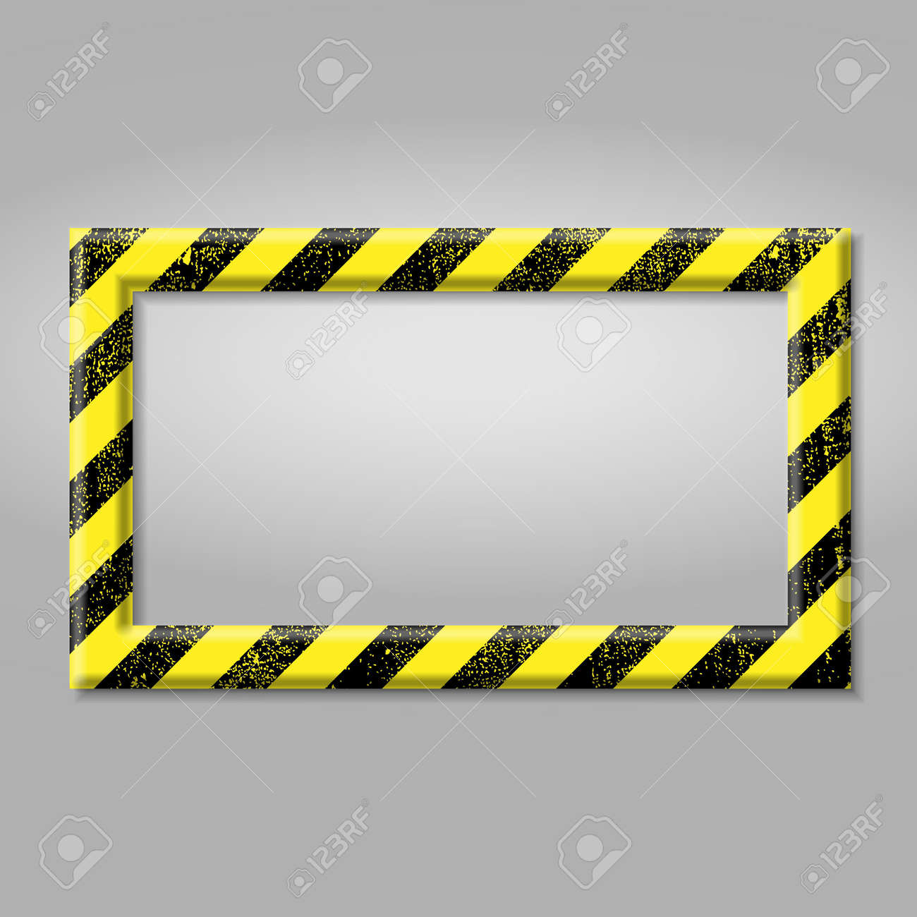 Frame with line yellow and black color. Caution sign. The hazard warning for text Template for your design - 168622458