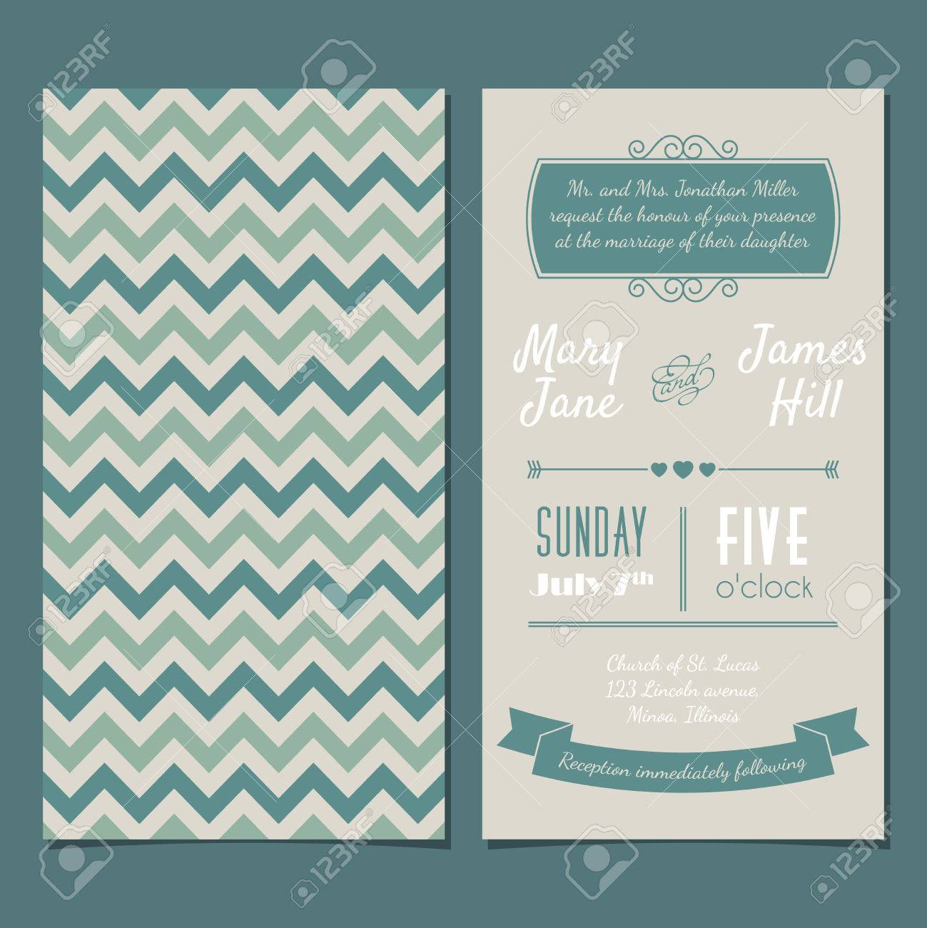 Vintage invitation card with background zigzag letters type vintage invitation card with background zigzag letters type ribbons and heart stock stopboris