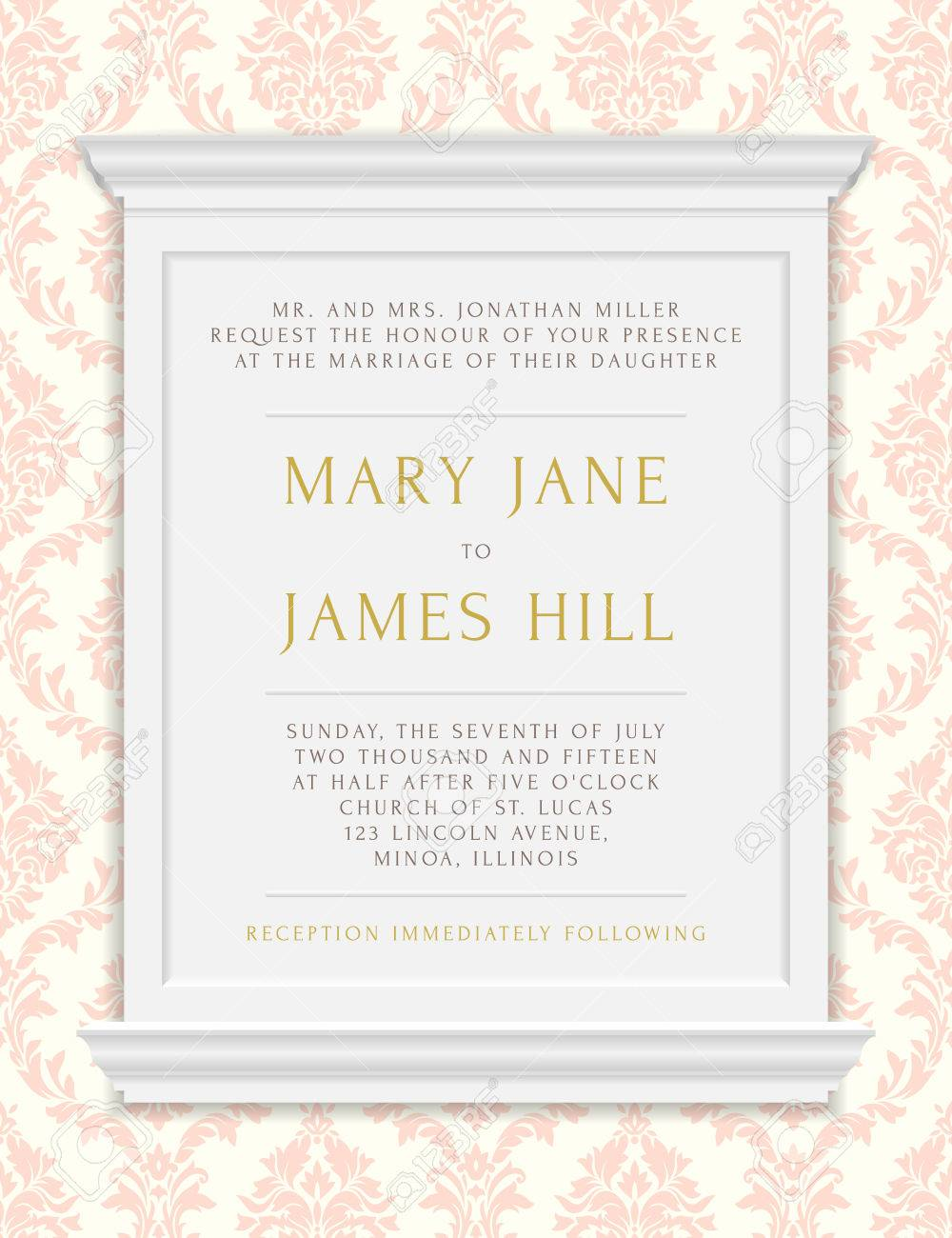 Invitation To The Wedding Or Announcements. Vector Vintage Frame ...