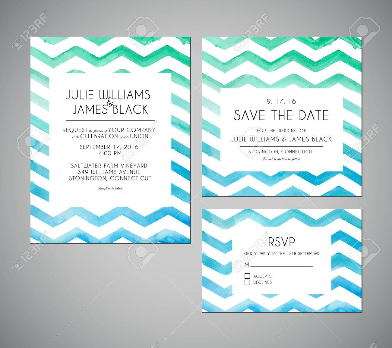 Vector Set Wedding Invitation Cards With Watercolor Background ...