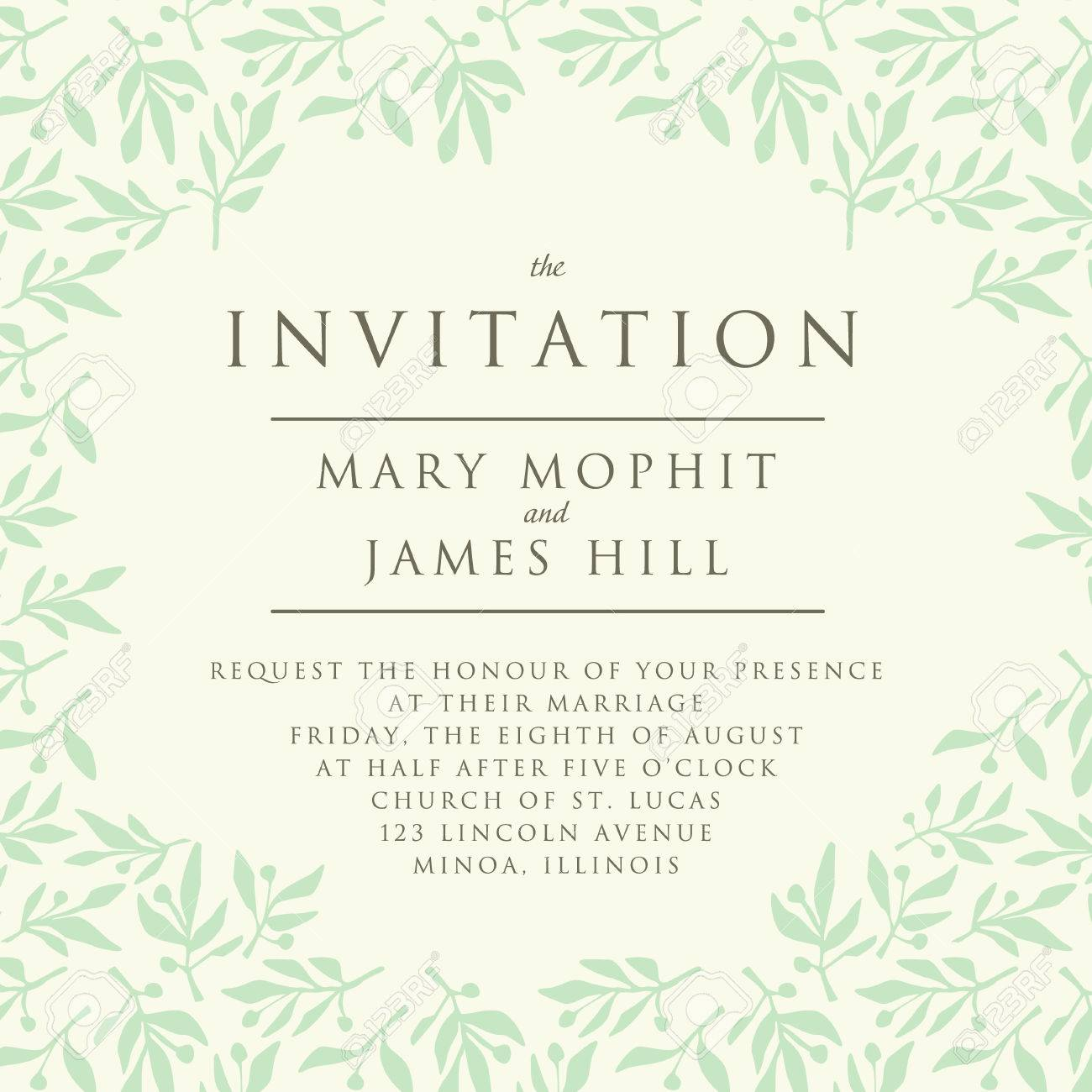 Invitation With Pattern Olive Branch. Template Wedding Invitation ...