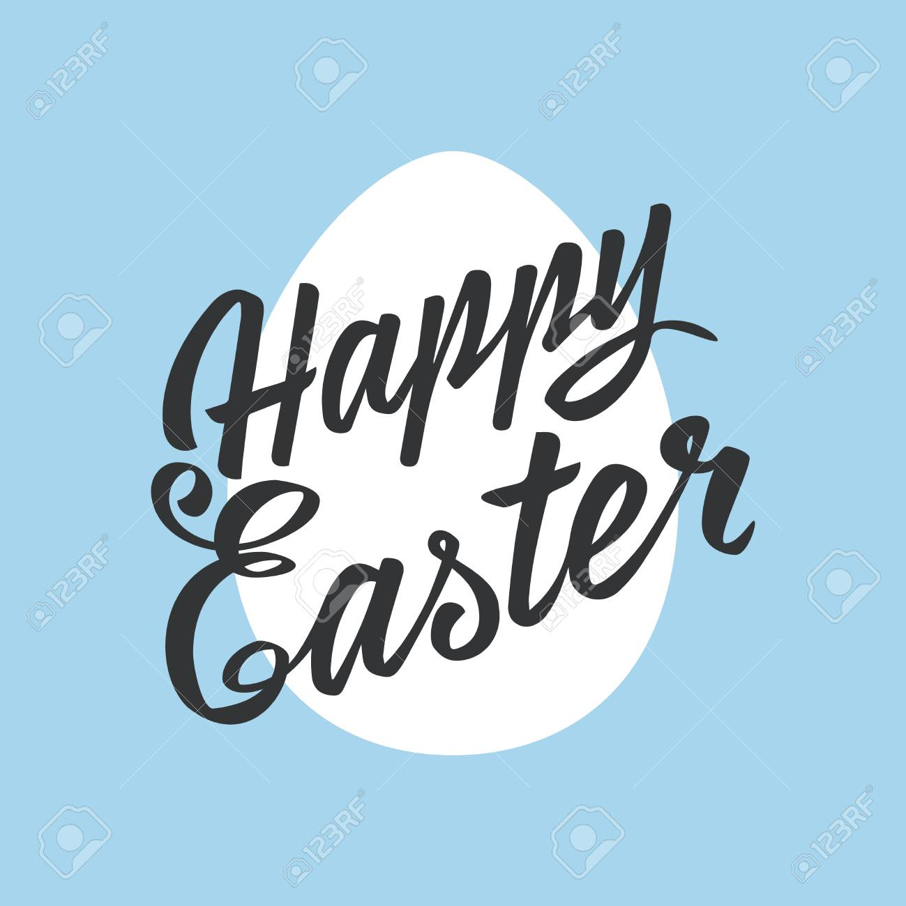 Happy Easter Greeting Card Lettering Egg On Color Background