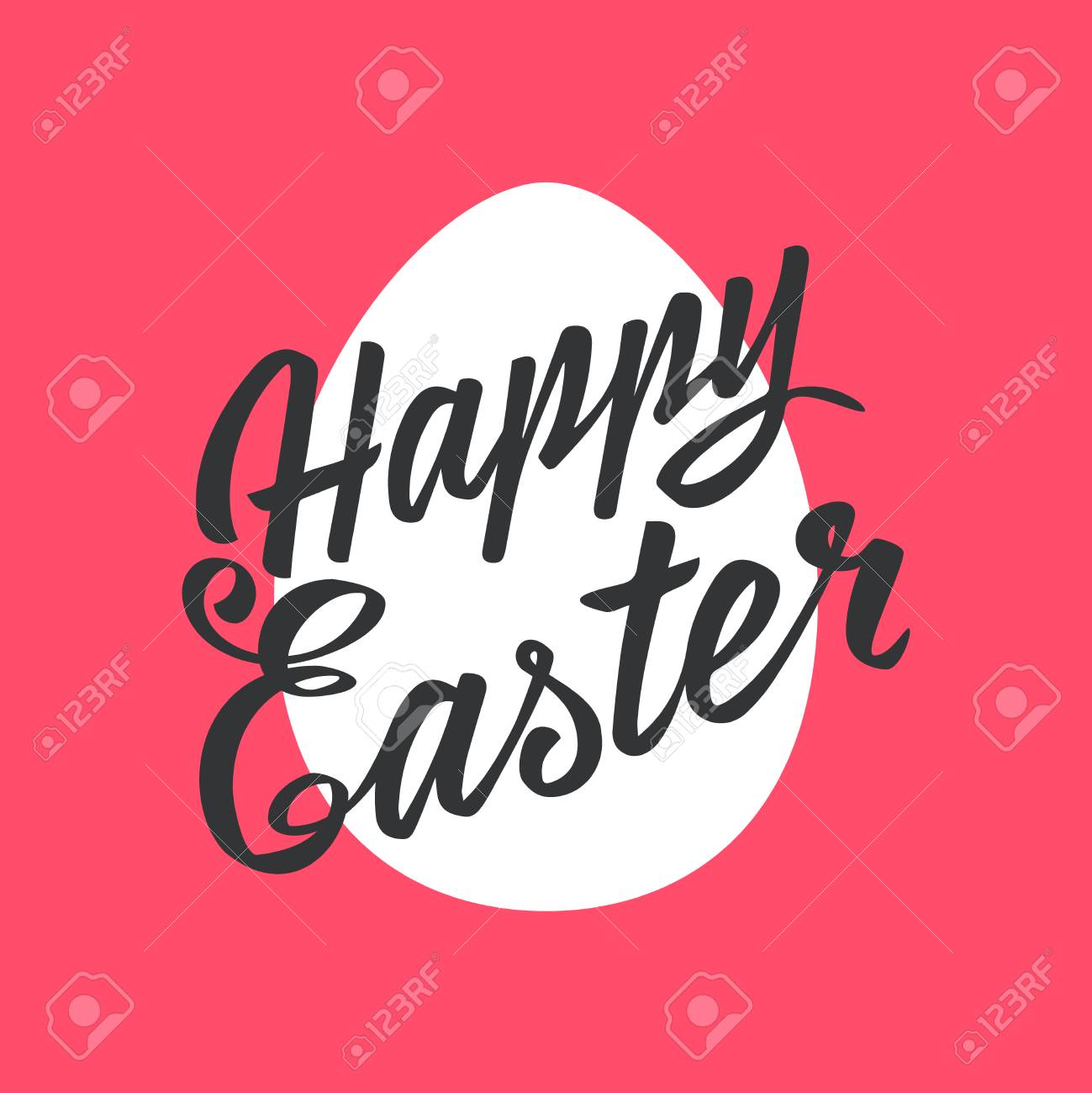 Happy easter greeting card lettering egg on color background happy easter greeting card lettering egg on color background typography inscription stock vector m4hsunfo