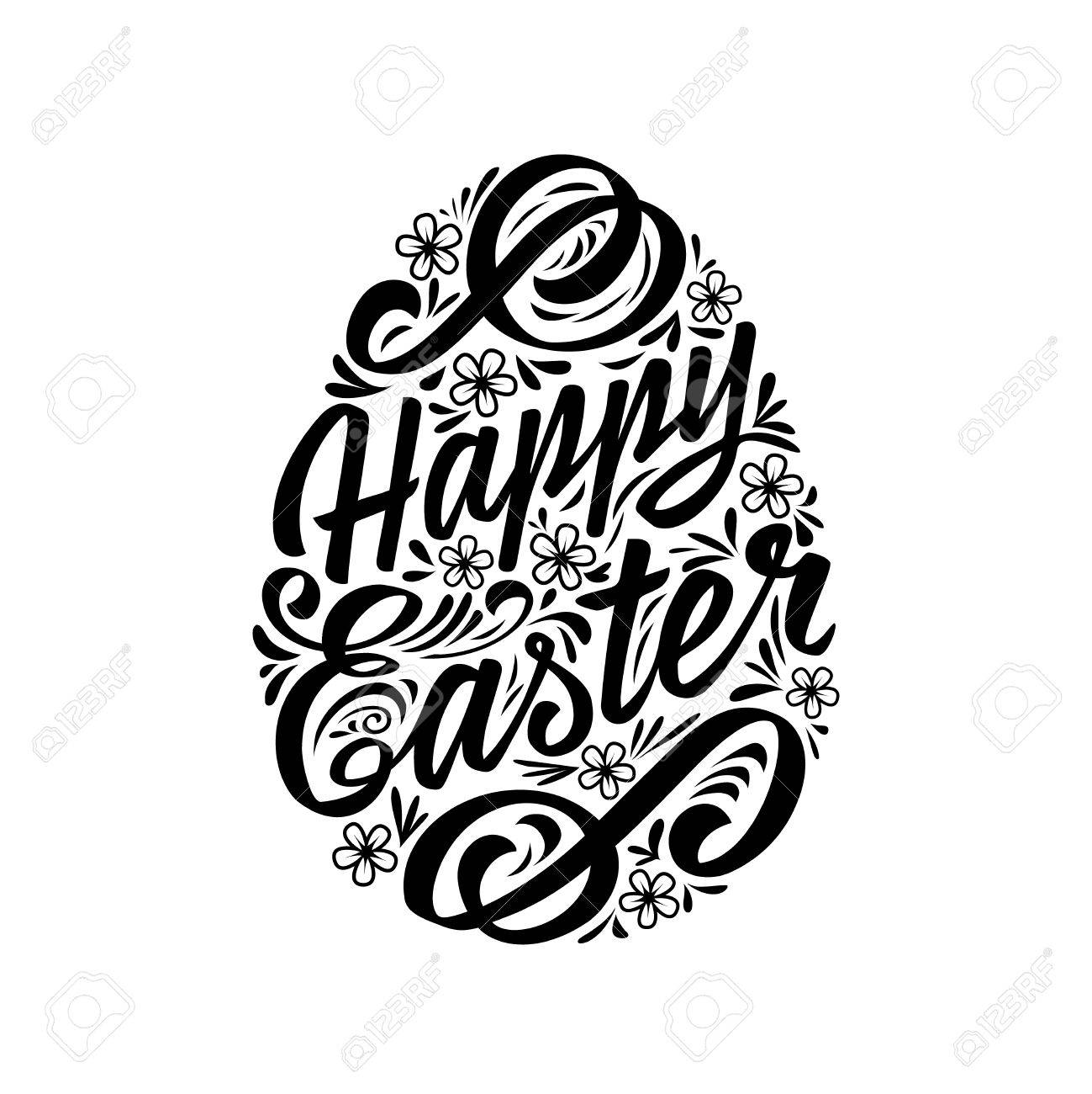 Happy Easter Greeting Card Lettering Typography Inscription