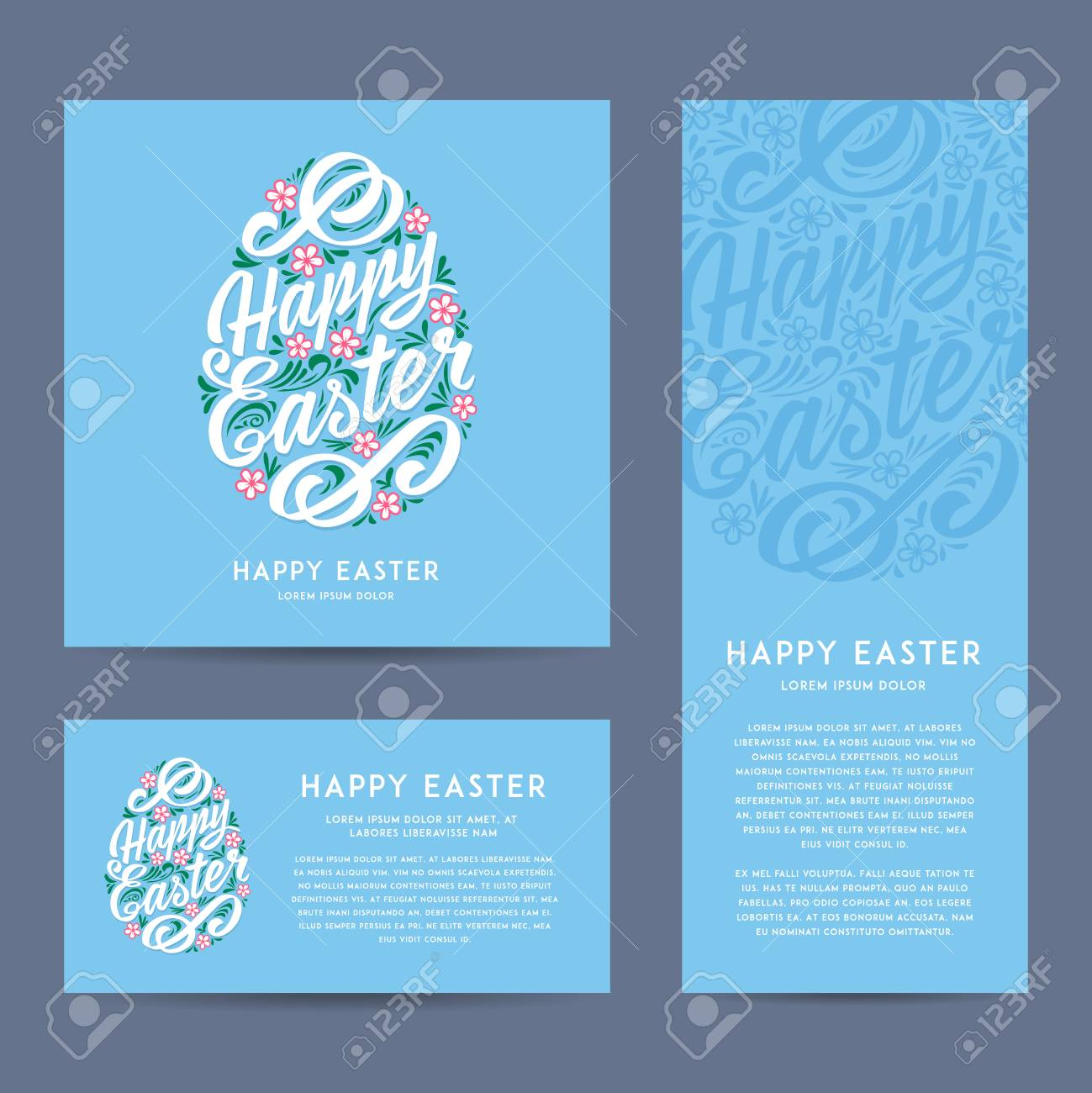 Set of happy easter greeting cards hand drawing lettering vector set of happy easter greeting cards hand drawing lettering vector illustration different m4hsunfo
