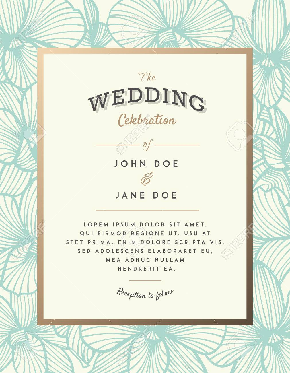 elegant wedding invitation with orchid flowers perfect for wedding