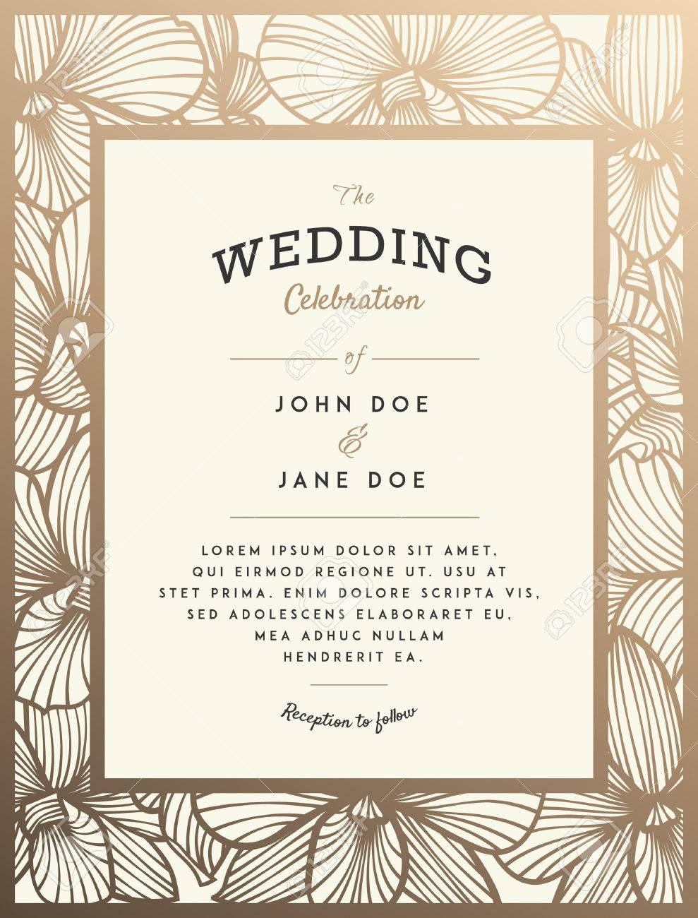 Elegant Wedding Invitation With Orchid Flowers. Perfect For Wedding ...