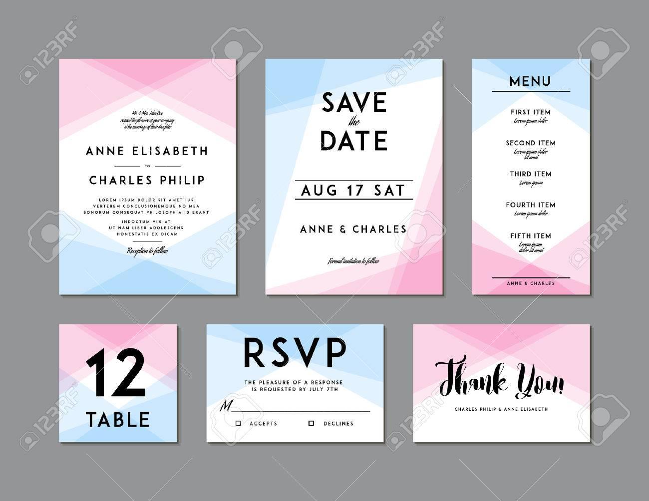 Modern Wedding Set Template. Modern Design. Wedding Invitation ...
