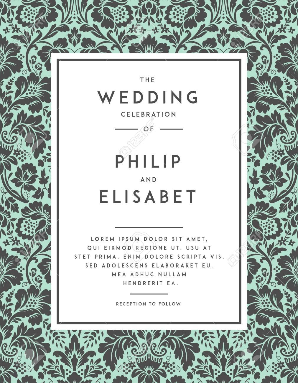 Vintage Wedding Invitation Template. Modern Design. Wedding ...