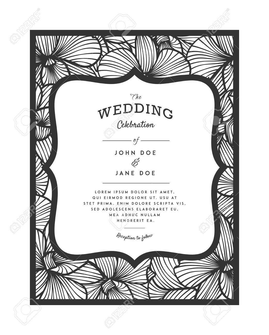 Laser cut vector wedding invitation with orchid flowers for laser cut vector wedding invitation with orchid flowers for decorative panel perfect for wedding or stopboris Images