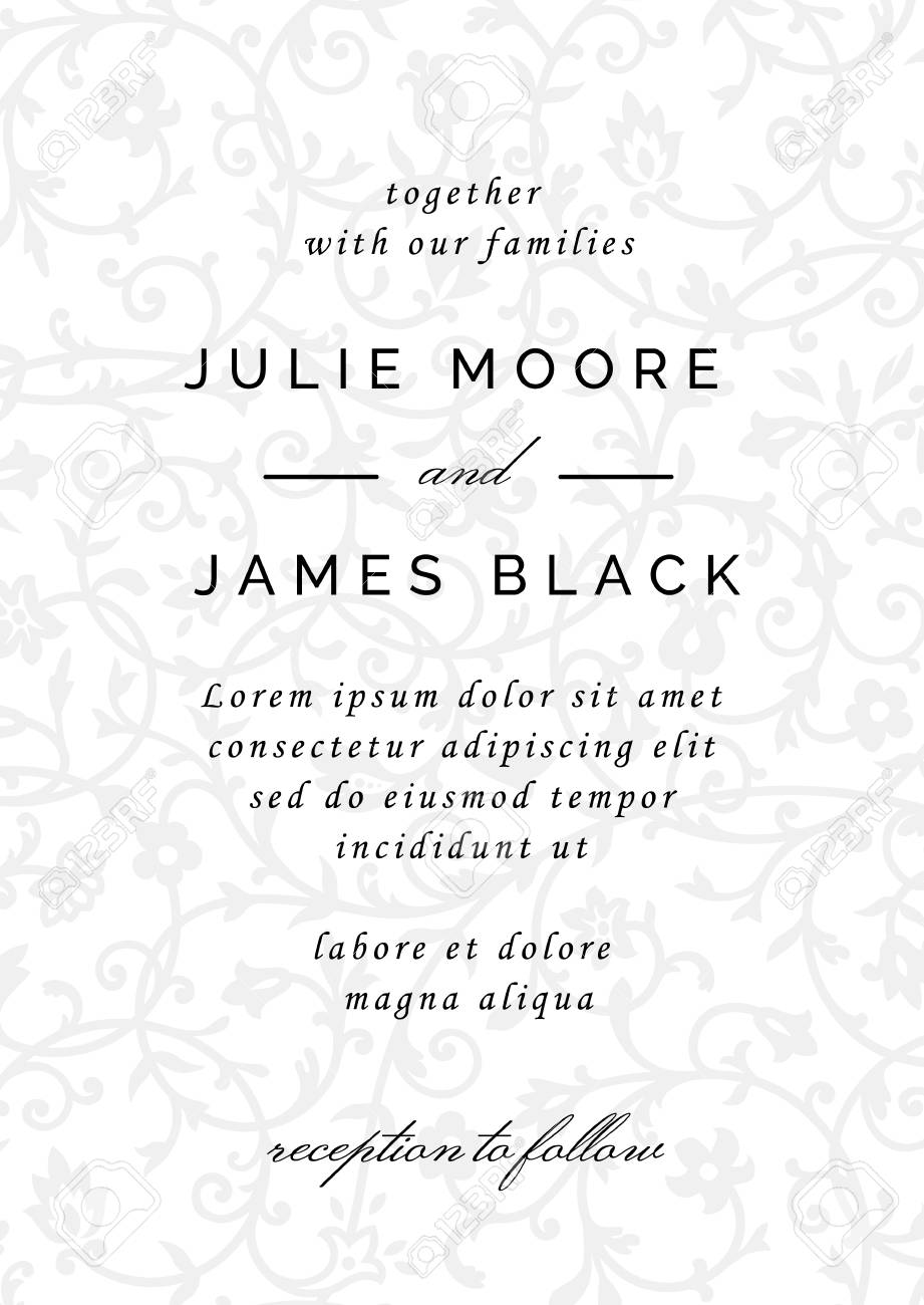 Vintage Wedding Invitation Template With Floral Background Vector ...