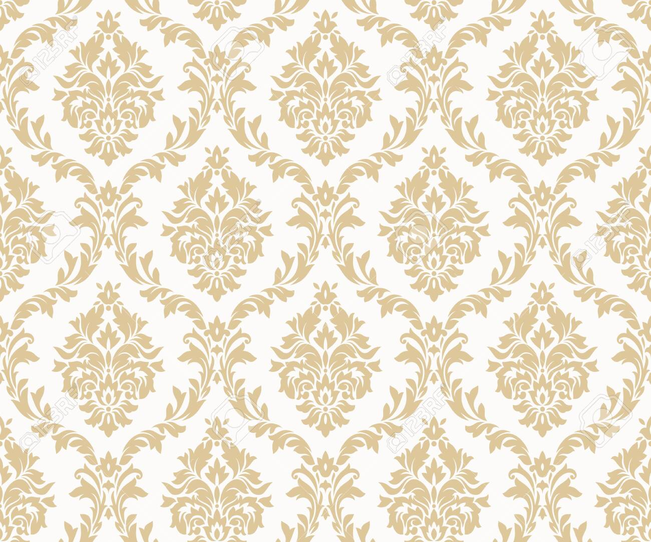 Vector seamless damask gold patterns. Rich ornament, old Damascus style gold pattern for wallpapers, textile, packaging, design of luxury products - Vector Illustration - 123111883