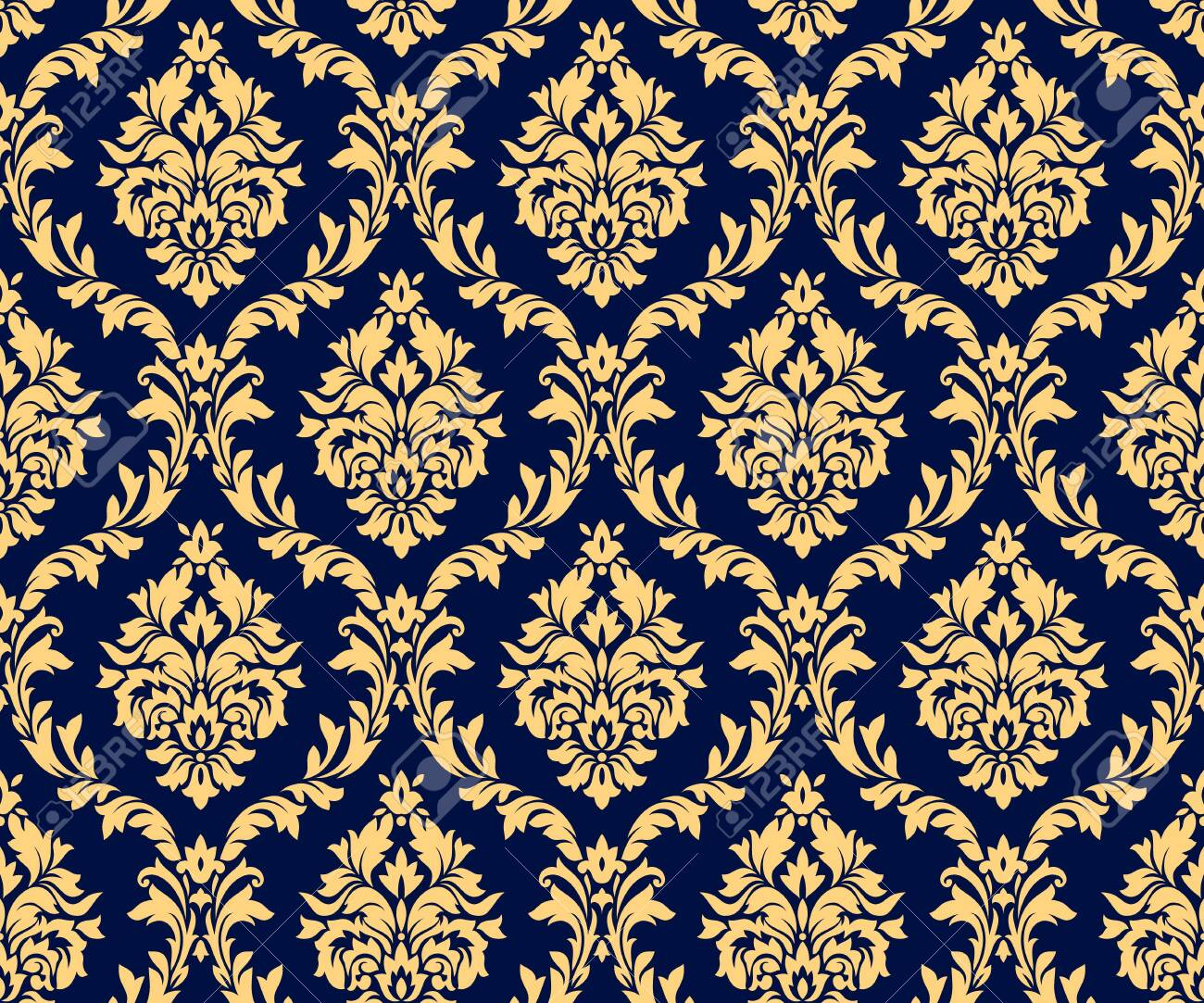Vector seamless damask gold patterns. Rich ornament, old Damascus style gold pattern for wallpapers, textile, packaging, design of luxury products - Vector Illustration - 123111887