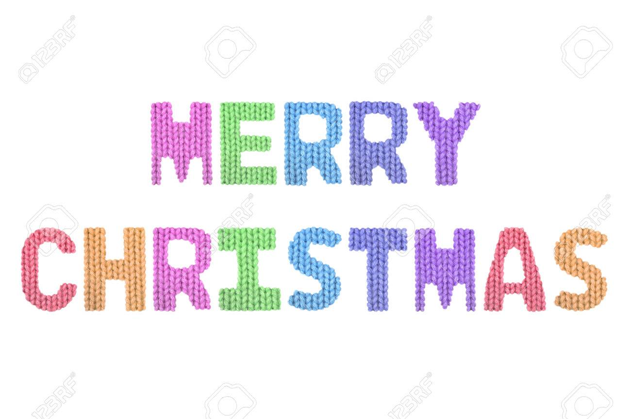 Merry Christmas Word On A Blurry Texture Knitted Pattern Of Woolen