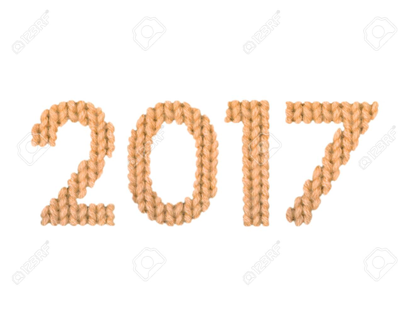 2017 numbers on a blurry texture knitted pattern of woolen thread closeup. English alphabet. Typography design. Color orange - 69758859