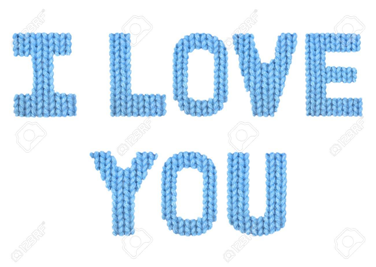 I Love You Word On A Blurry Texture Knitted Pattern Of Woolen ...