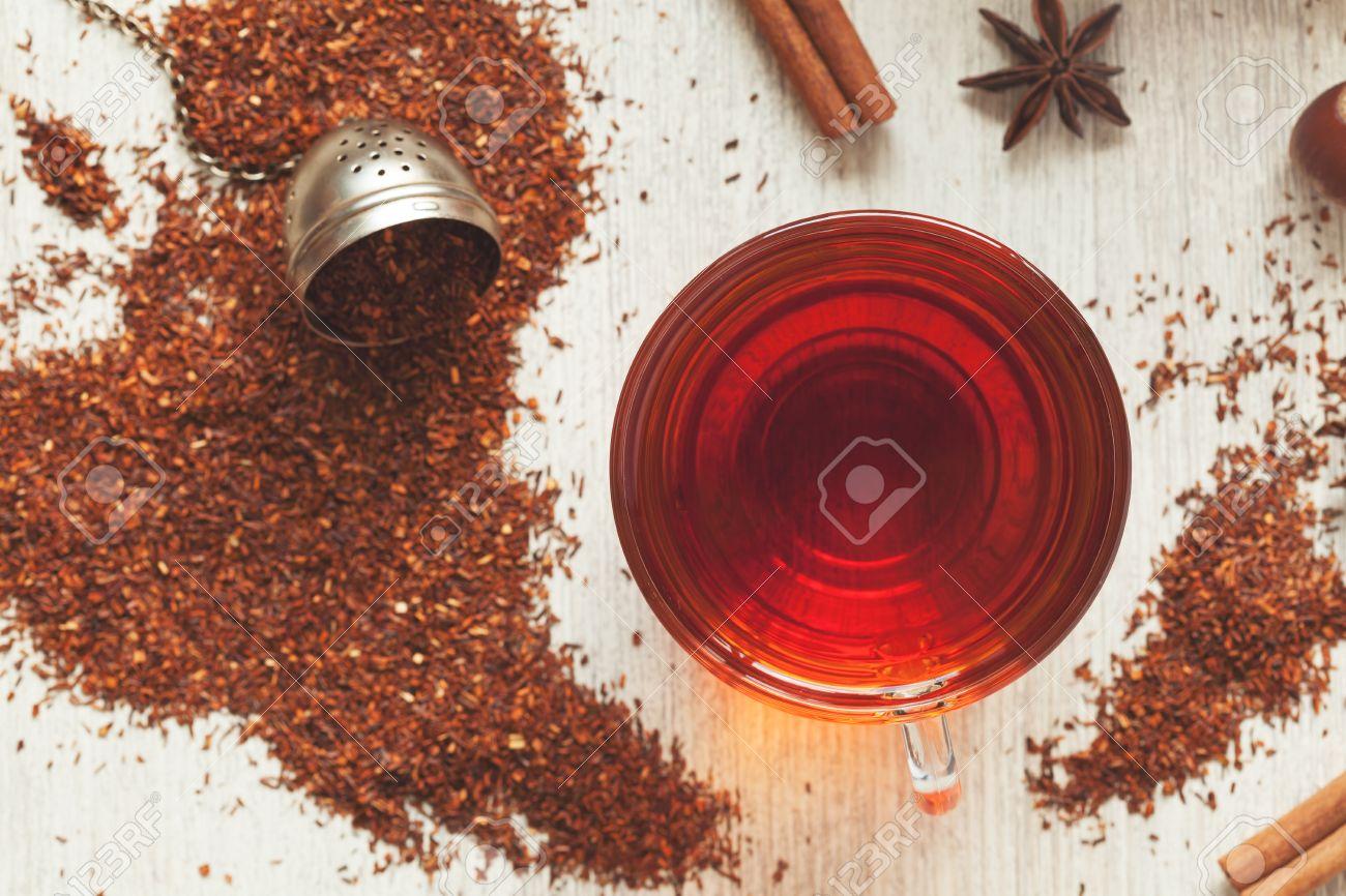 Glas Tasse Leckeren Bio Krauter Rooibos Roter Tee Mit Gewurzen Auf