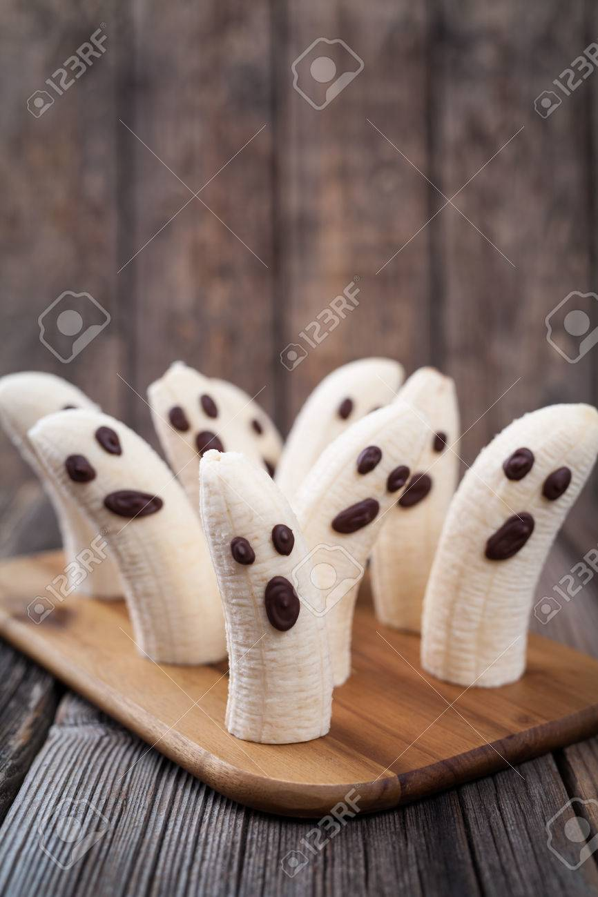 Scary Halloween Banana Ghost Chocolate Faces Healthy Natural Snack ...