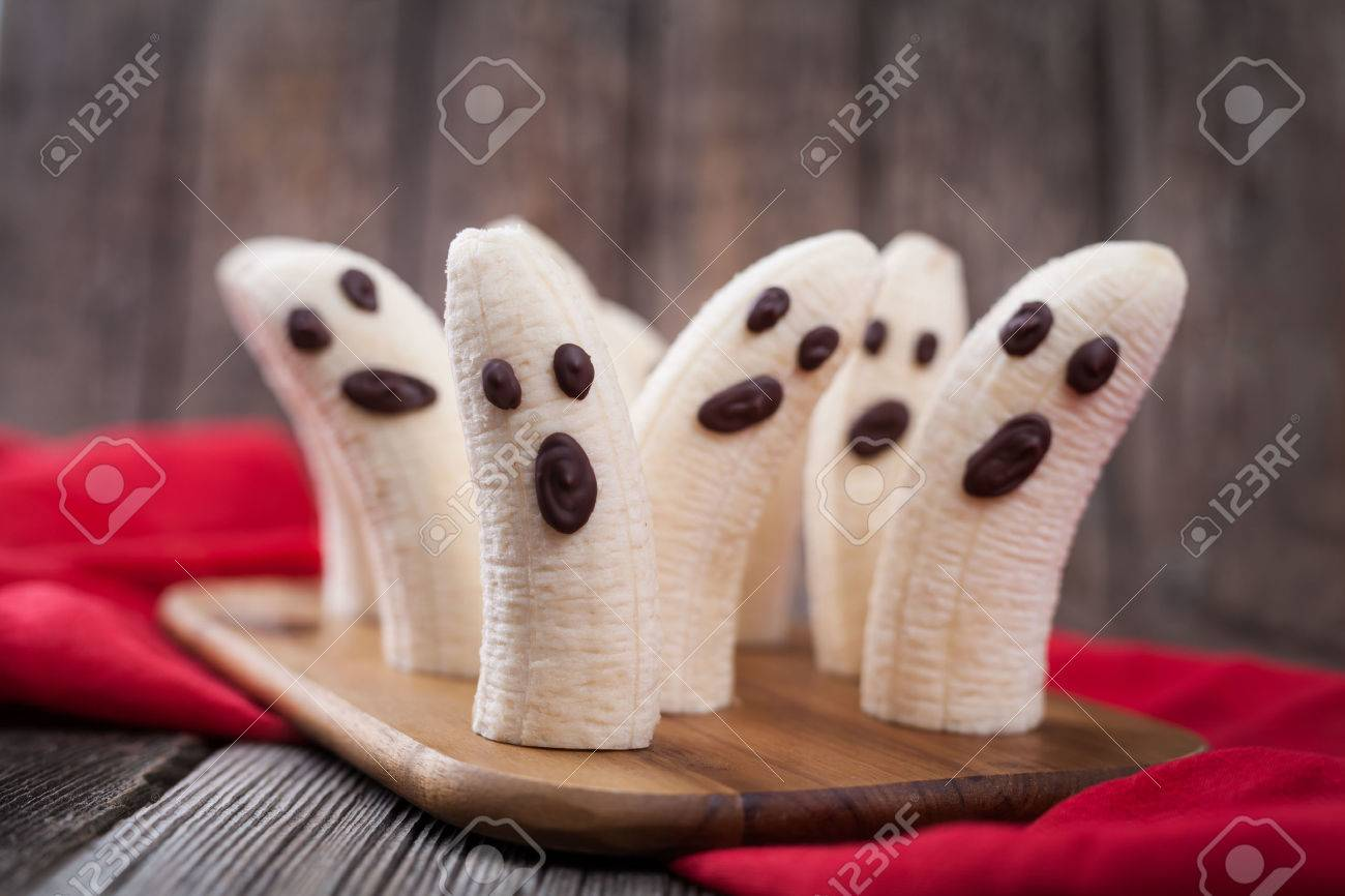 Homemade Halloween Scary Banana Ghosts Monsters With Chocolate ...