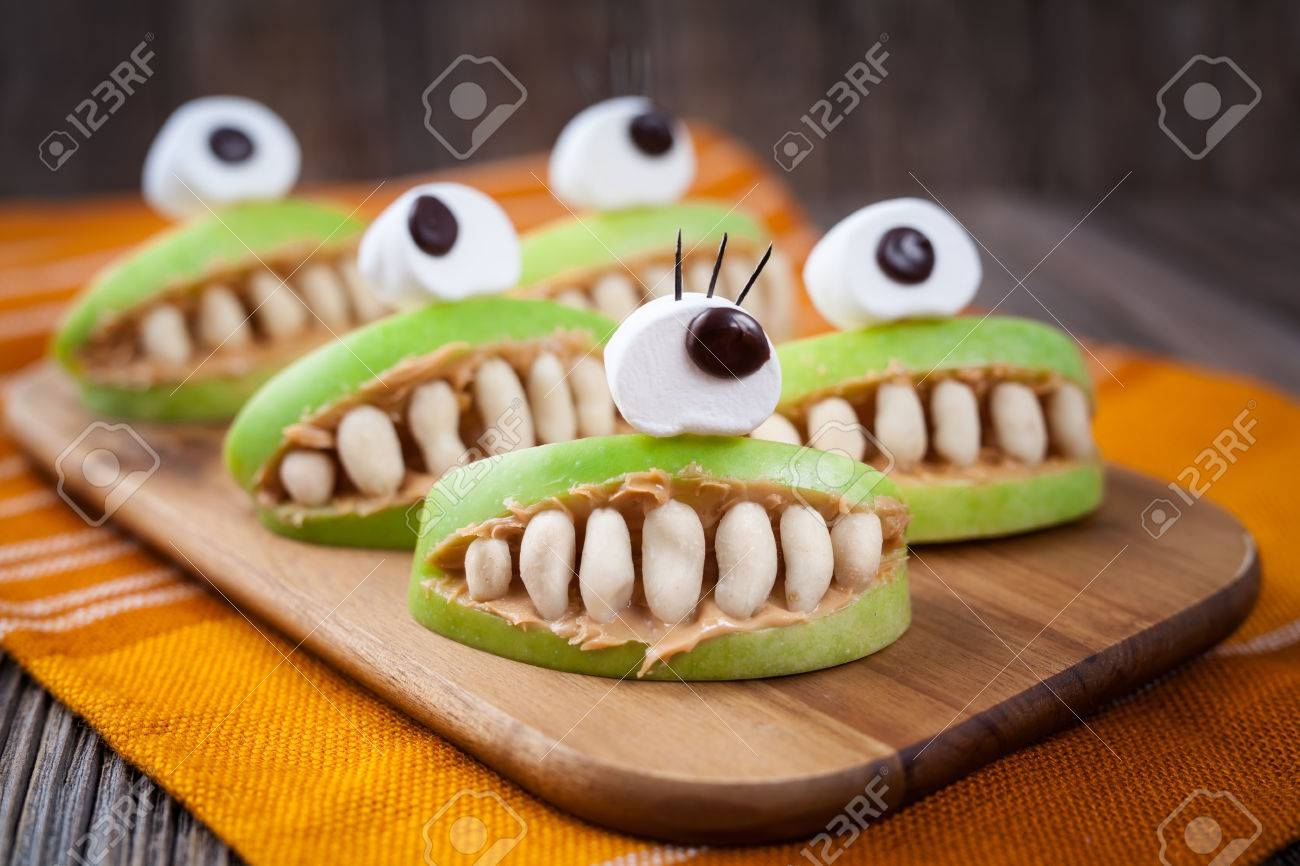 Spooky Halloween Edible Apple Monsters Healthy Natural Dessert ...