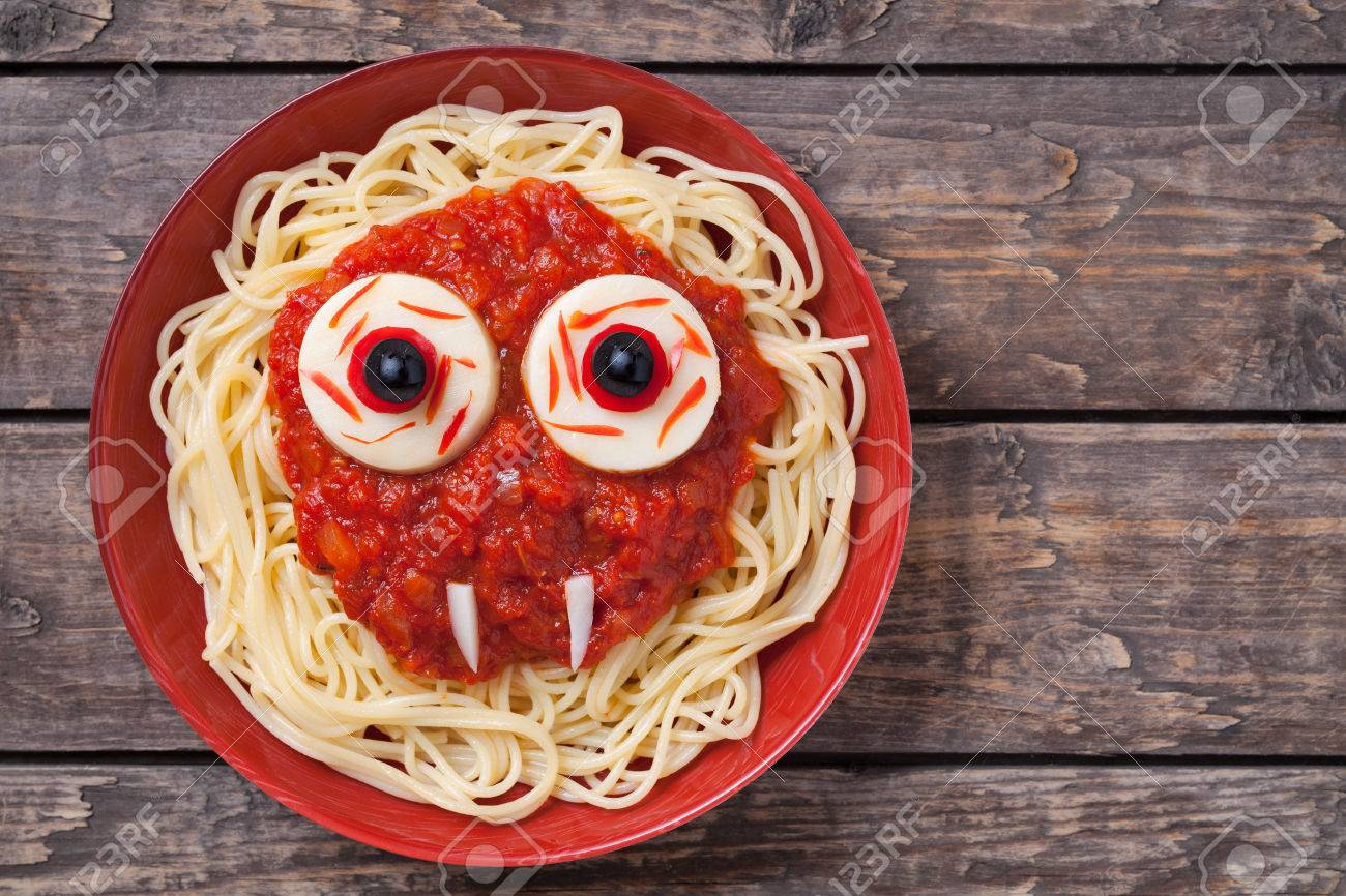 Scary halloween party decorations - Scary Halloween Food Pasta Vampire Monster Face With Big Eyes And Fangs For Celebration Party Decoration