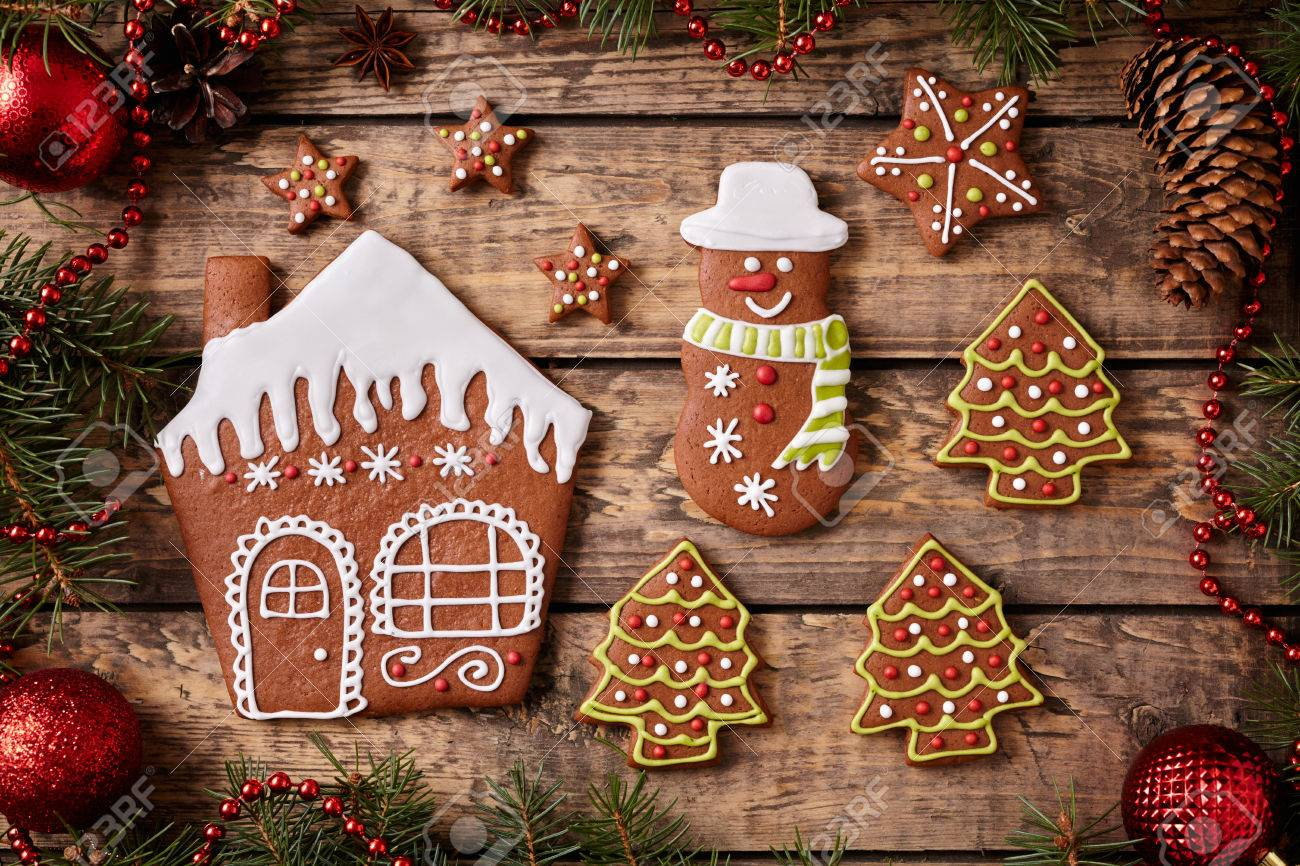 Gingerbread House Fur Trees Stars And Snowman Cookies Christmas