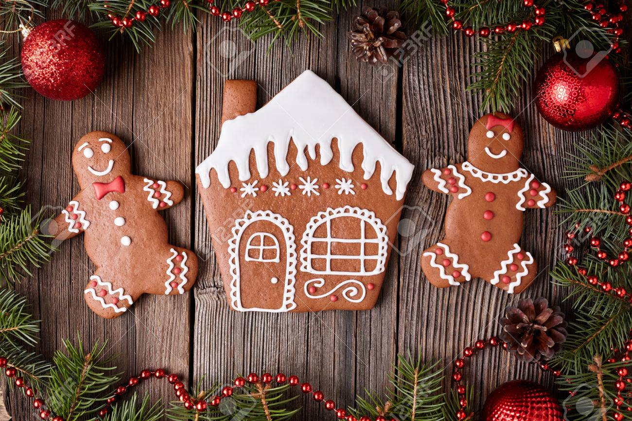 Gingerbread House Man And Woman Cookies Christmas Composition