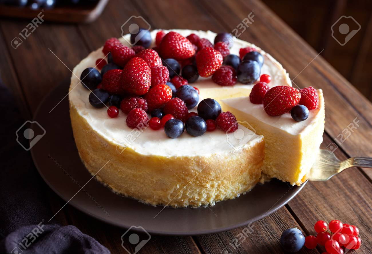 Close Up. Creamy Mascarpone Cheese Cake With Strawberry And Winter