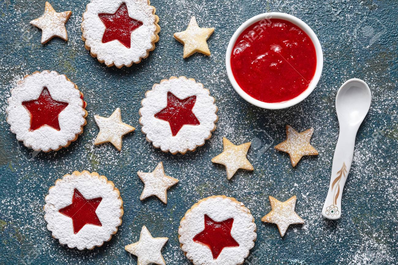 Round And Star Like Christmas Biscuits Ginger Cookies With Strawberry