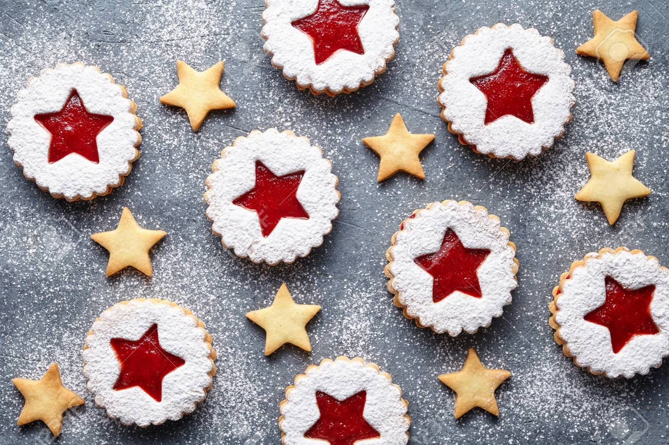 Linzer Star Cookies With Jam Filling Flat Lay Traditional Christmas
