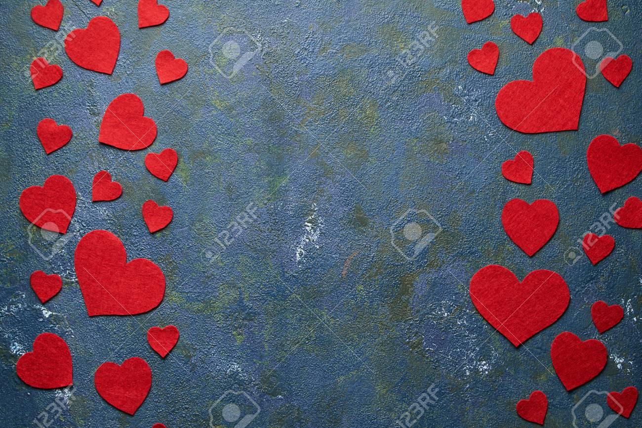Concrete Creatieve Groene Achtergrond Met Harten Voor Valentijnsdag