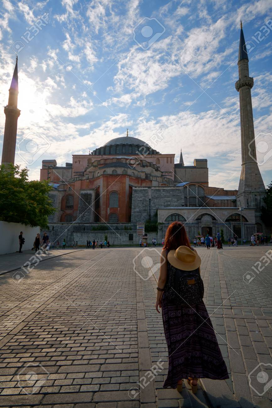 Tourist woman near Hagia Sophia mosque famous travel religion