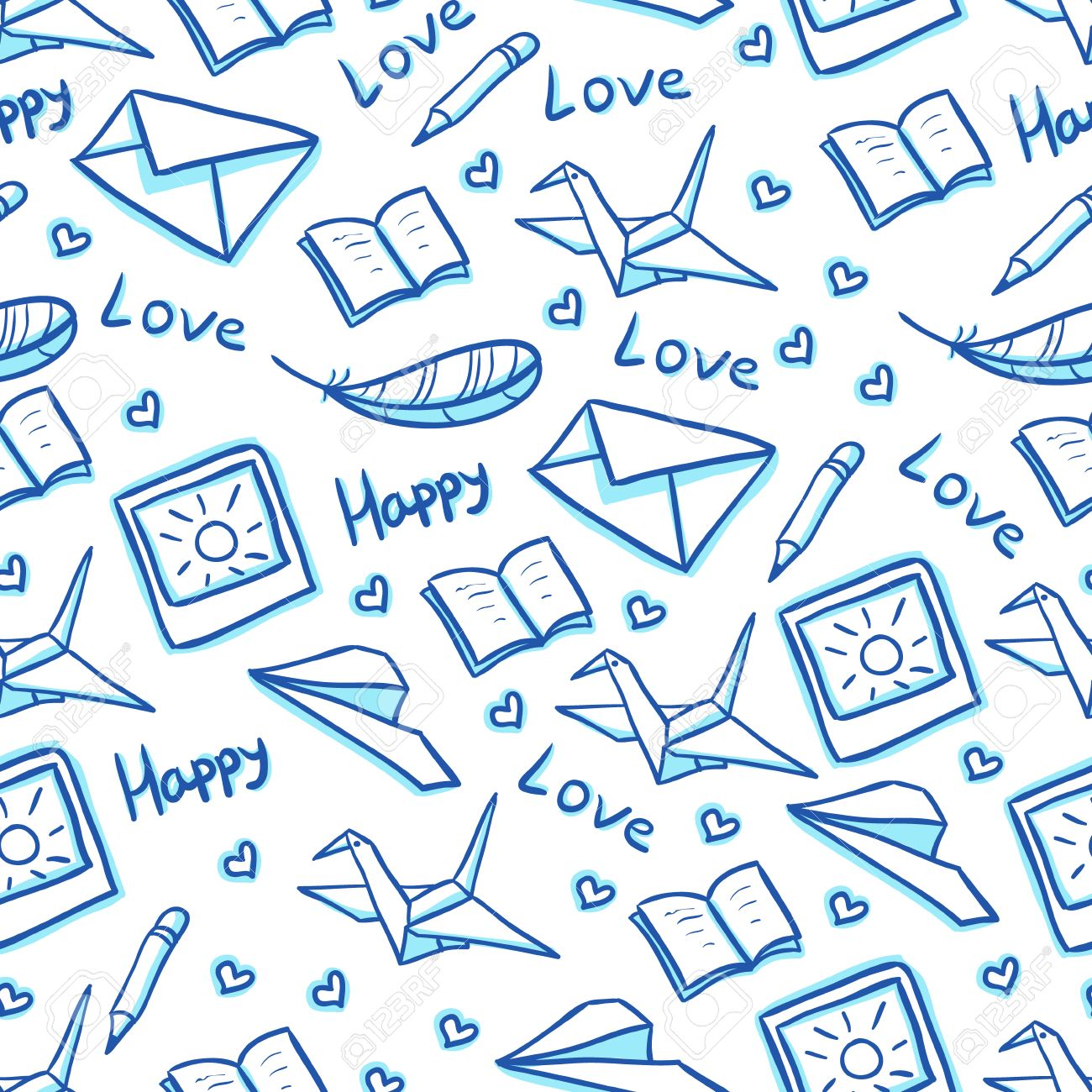 Mail Seamless Background With Paper Planes, Envelopes And Photos ...