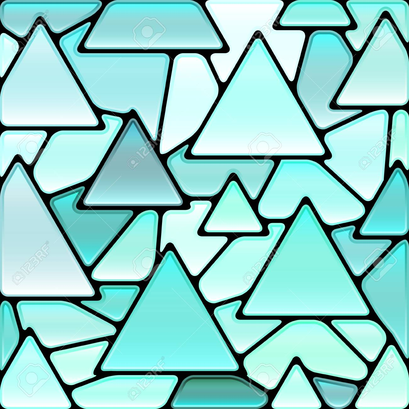 Abstract Vector Stained Glass Mosaic Background Light Blue